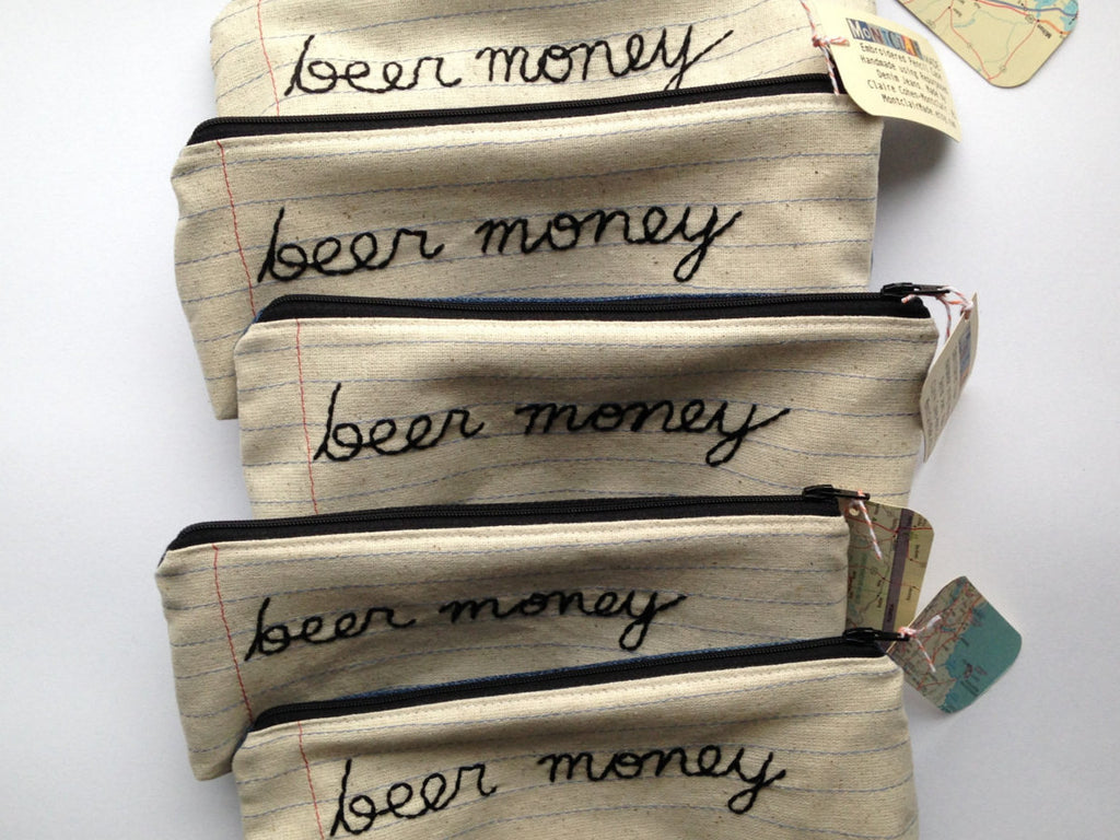 Wholesale - 5 Zipper Pouch Pencil Cases - Beer Money - Notebook Paper Fabric - Great for Resale - Hand Embroidered