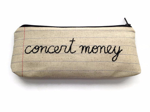 Concert Money Bag - Notebook Paper Fabric - Hand Embroidered - Music Lover Gift - Ticket Stub Holder