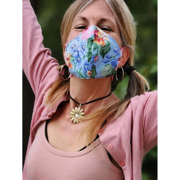 Handmade Mask - Choose Your Size - Fitted Style - Vintage Blue Floral