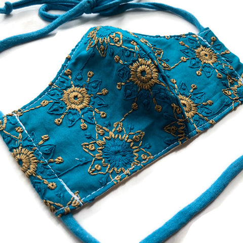 Handmade Mask - Choose Your Size - Fitted Style - Embroidered Blue