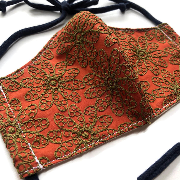 Handmade Mask - Large - Fitted Style - Embroidered Orange