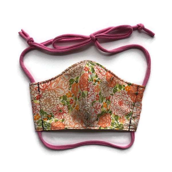 Handmade Mask - Fitted Style - Choose Your Size - Orange Floral