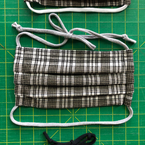 Handmade Mask - Small Pleated Style - Neutral Plaid