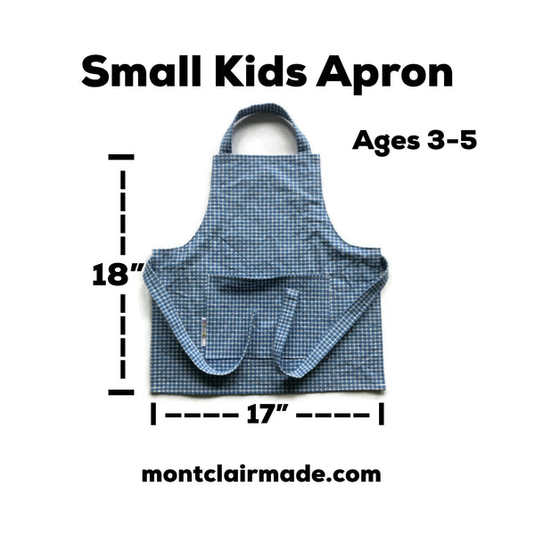 Handmade Apron - Kid Size - Blue and White Check