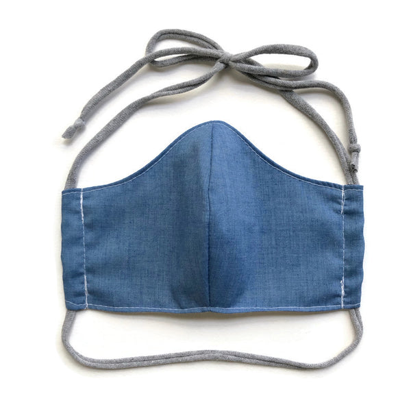 Handmade Mask - Fitted Style - Choose Your Size - Lightweight Denim