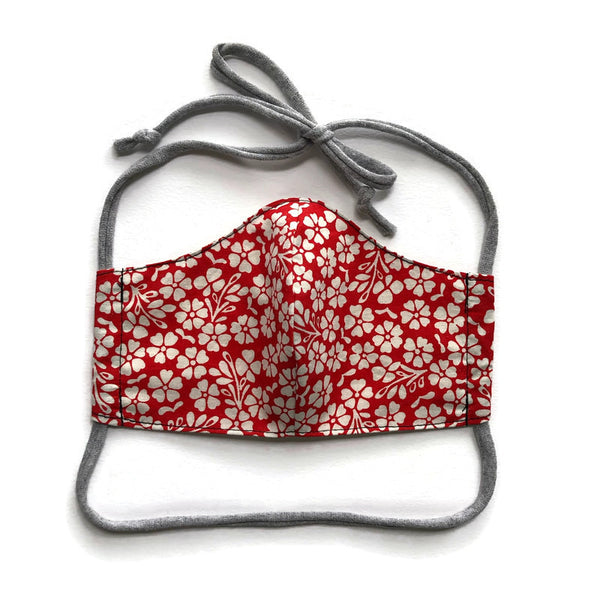 Handmade Mask - Choose Your Style / Size - Red and White Floral - Most Popular