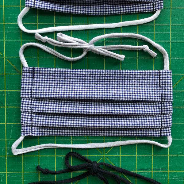 Handmade Mask - Pleated Style - Choose Your Size - Blue Check