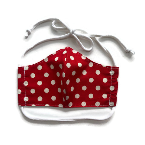 Handmade Mask - Medium / Teen / Women's - Fitted Style - Red Polka Dot