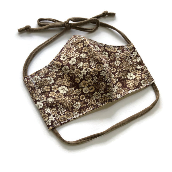 Handmade Mask - Large / Men's - Fitted Style - Vintage Brown Floral