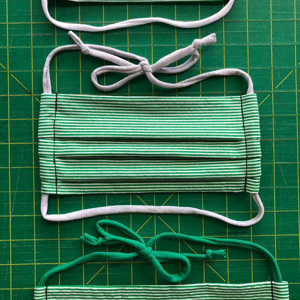 Handmade Mask - Pleated Style - Choose Your Size - Green Stripe
