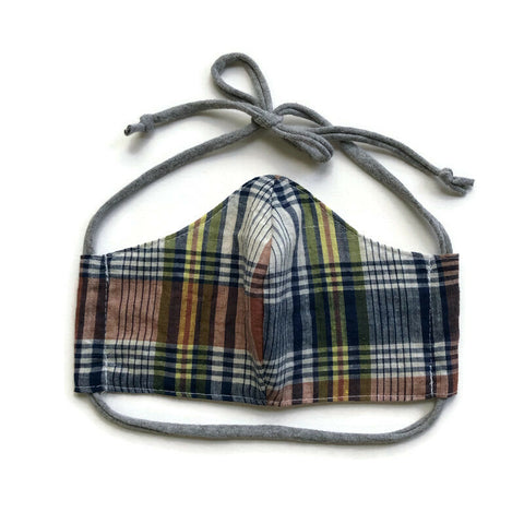 Handmade Mask - Large - Fitted Style -  Lightweight Plaid