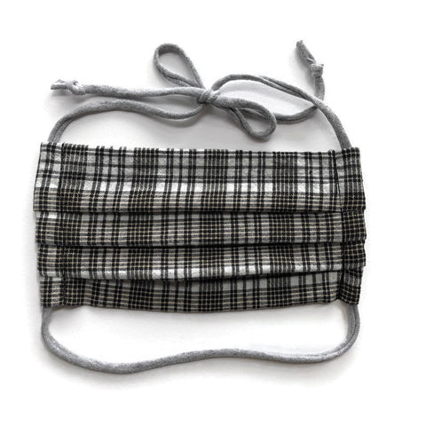 Handmade Mask - Pleated Style - Choose Your Size - Neutral Plaid