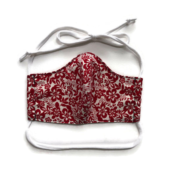 Handmade Mask - Choose Your Style / Size - Red and White Floral