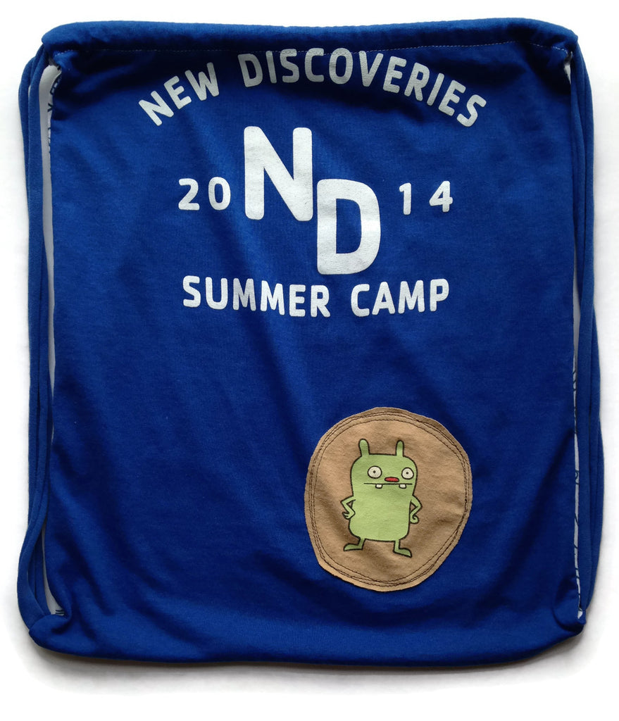 Repurposed Tshirt Back Pack - Summer Camp Tshirt with Uglydoll Patch