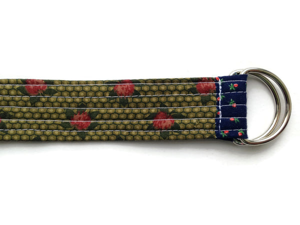 Patchwork Quilted Fabric Belt with D-Rings - One Inch Wide - Extra Long