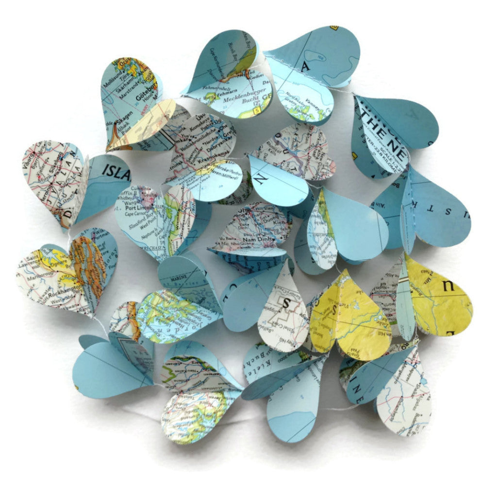 Map Heart Garland - Vertical Paper Decoration - Vintage National Geographic Atlas - Going Away Party or Classroom Decoration