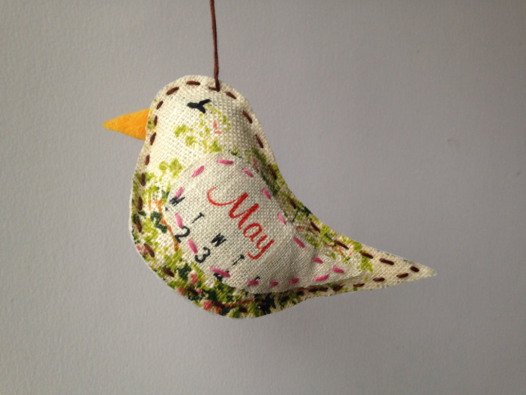 May Bird Ornament - Repurposed Vintage Calendar Tea Towel - Hand Embroidered