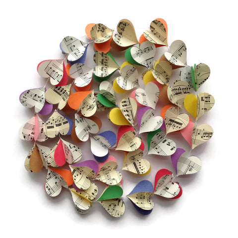 Colorful Notes Vertical Paper Heart Garland - Vintage Sheet Music Garland - Multicolored Paper Heart Decoration - Music Notes - Teacher Gift