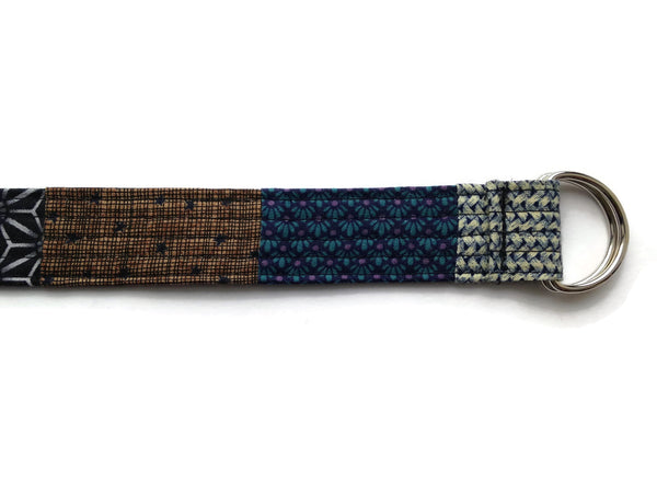 Vegan Fabric Belt - Quilted Patchwork - D Rings For Easy Fit - Narrow Width
