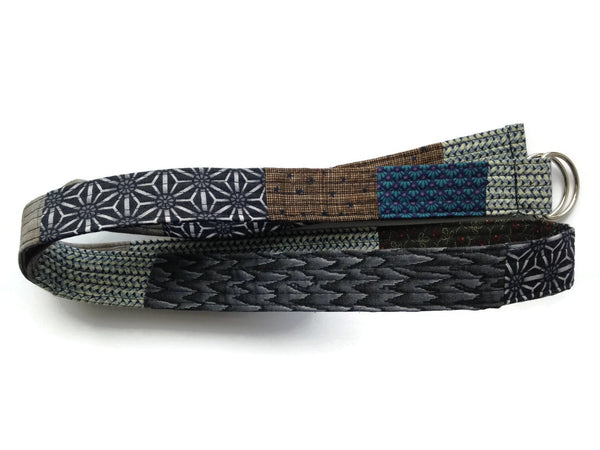 Patchwork Quilted Fabric Belt with D-Rings - Narrow