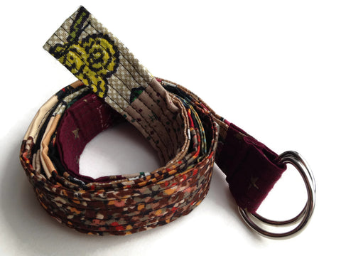 Narrow Quilted Fabric Belt with D Rings - Handmade and Vegan Accessory