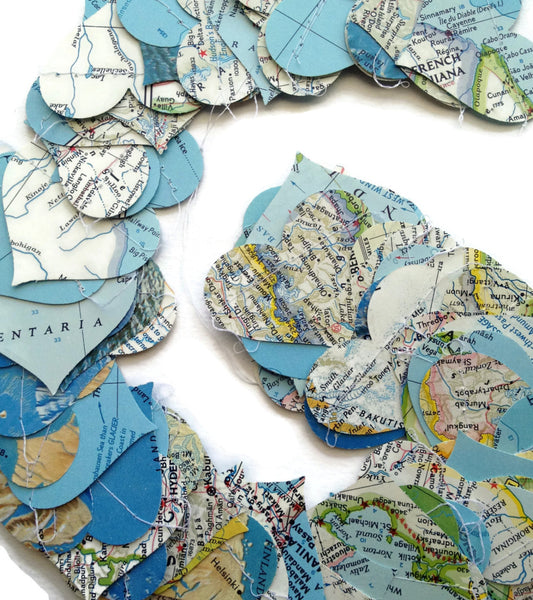 Horizontal Vintage National Geographic Atlas Paper Heart Garland - 10, 15, or 20 Feet Long