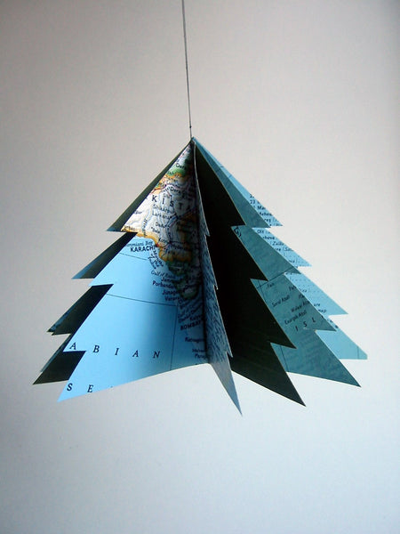 Green Vintage Map Christmas Tree Ornament - Reclaimed Vintage National Geographic Atlas - Handmade Xmas Decoration