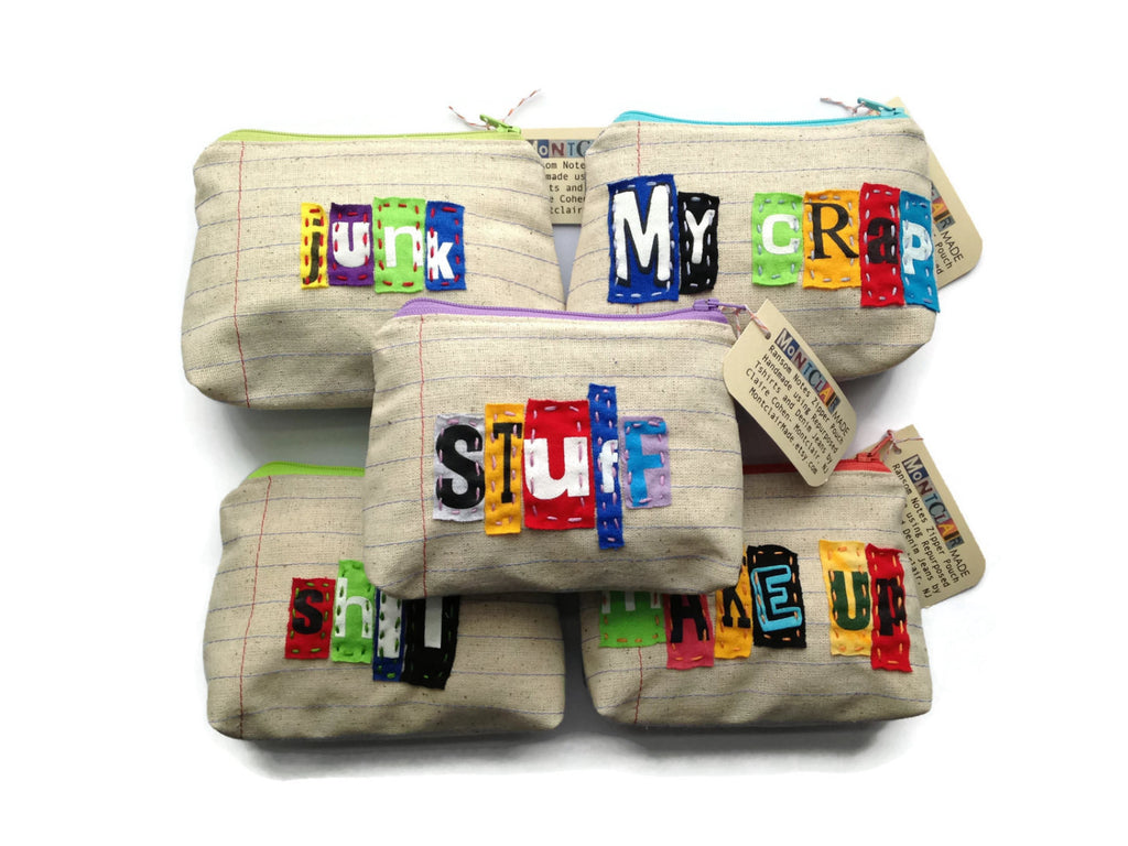 Wholesale - 5 Ransom Notes Zipper Pouches - Great for Resale - Makeup Bag - Credit Card Case