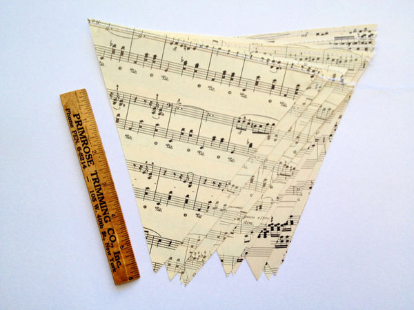 Large Music Note Banner - Vintage Sheet Music Decoration - Triangle Bunting Garland - 7 inch Paper Triangles