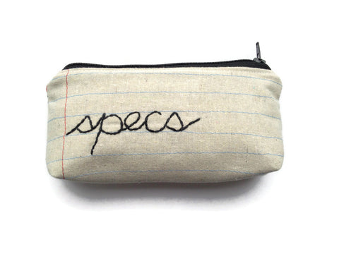 Eyeglass Case Zipper Pouch - Specs - Handmade Glasses Case - Eyewear Case - Great Gift Idea