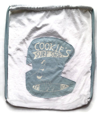 Repurposed Tshirt Back Pack - Seattle Tshirt with Cookie's Surf Shop Patch