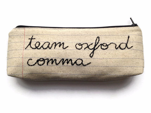 Team Oxford Comma - Zipper Pouch - Pencil Case - Makeup Bag - Notebook Paper Fabric - You Choose The Lining - Handmade - Novelty Gift