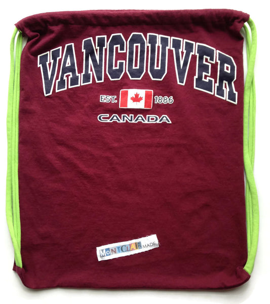Repurposed Tshirt Back Pack - Vancouver Tshirt with Panama City Beach Patch
