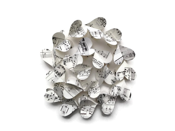 Vintage Sheet Music Paper Heart Garland