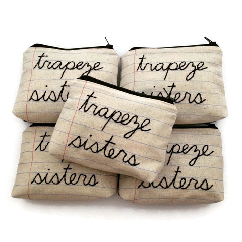 Wholesale - 5 Zipper Pouches - Your Choice of Phrases - Notebook Paper Fabric - Handmade