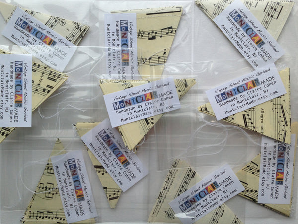 Wholesale - 10 Vintage Sheet Music Garlands - Music Note Bunting - Great for Resale - Party Supplies - Classroom Decorations - Wedding Decor