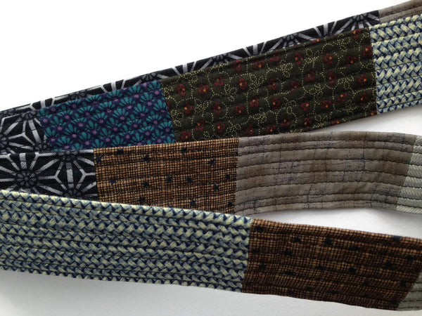 Patchwork Quilted Fabric Belt with D-Rings - Wide