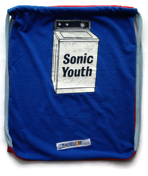 Repurposed Tshirt Back Pack - Sonic Youth and Y Camp Tshirts with Yeti Patch