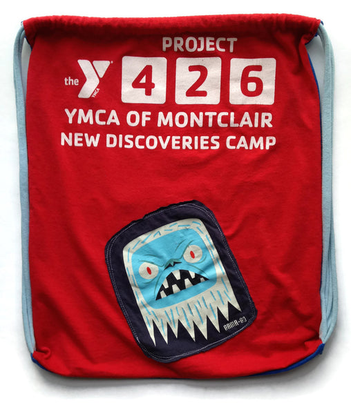 Repurposed Tshirt Back Pack - Sonic Youth and Y Camp Tshirts with Yeti Patch - Gym Bag - Perfect for Day Camp