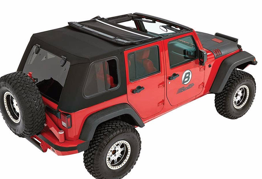 Bestop Trektop Pro Soft Top For 07 17 Jeep Wrangler Unlimited 4 Door    Black Dog Offroad