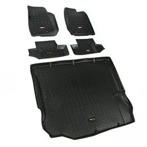 Rugged Ridge 5 Piece Floor Liner Kit for 07-10 Jeep Wrangler JKU 4 Door - Black Dog Offroad