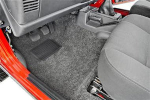 Bedrug Premium Carpeted Front Floor Covering with Full Center Console for 97-06 Jeep Wrangler TJ & Unlimited - Black Dog Offroad