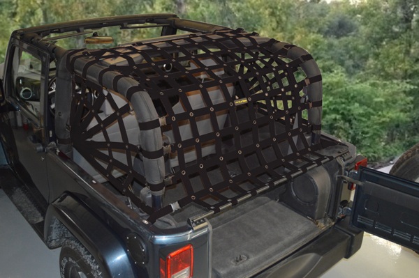 Dirtydog 4X4 Rear Spider Netting for 07-17 Jeep Wrangler JK 2 Door - Black Dog Offroad