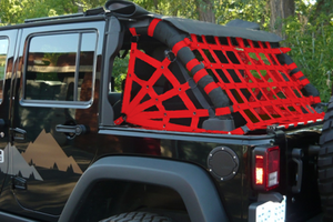 Dirtydog 4X4 Rear Spider Netting for 07-17 Jeep Wrangler Unlimited JK 4 Door - Black Dog Offroad