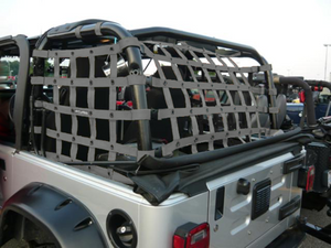 Dirtydog 4X4 Rear Netting for 97-06 Jeep Wrangler TJ 2 Door - Black Dog Offroad