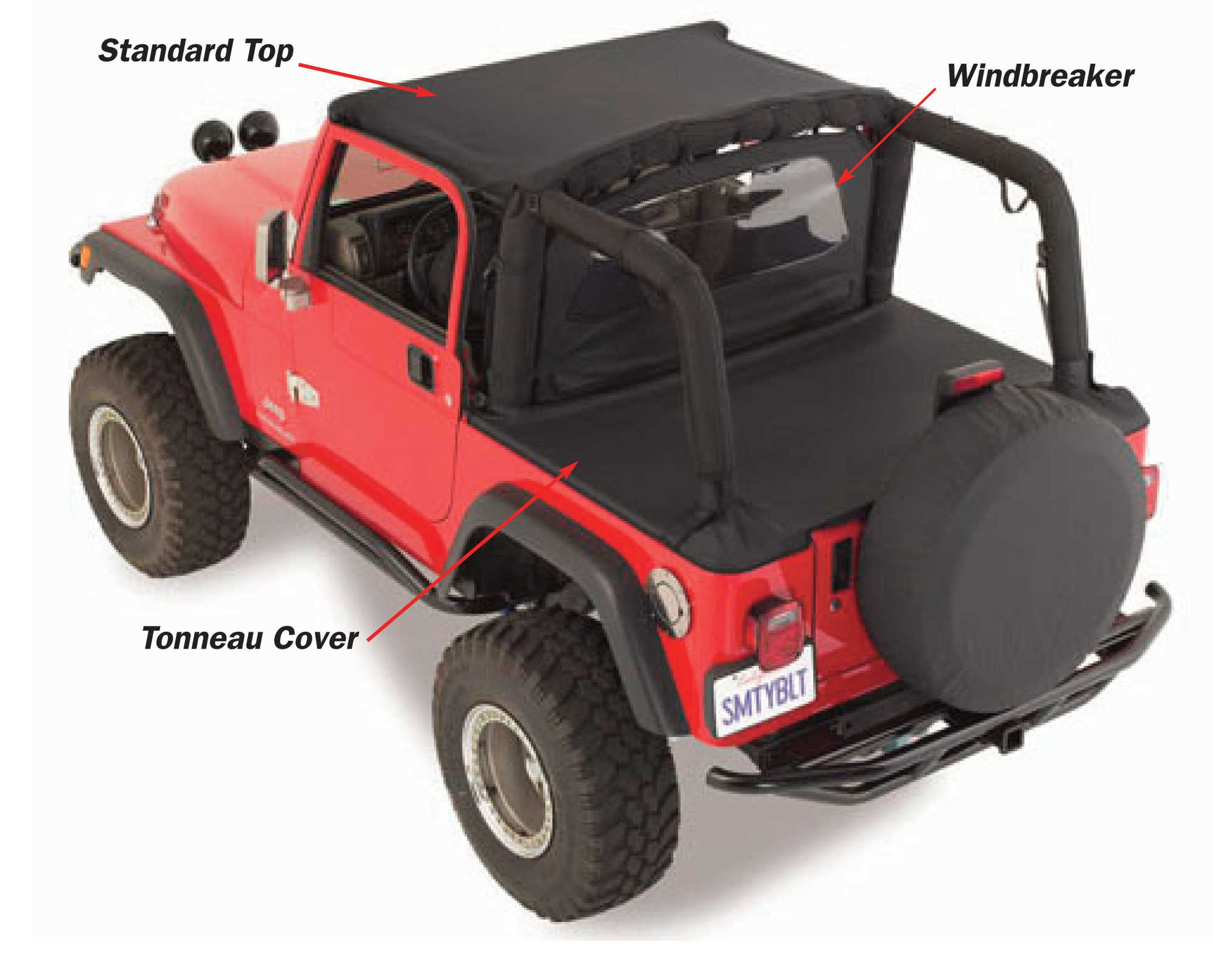 Smittybilt Tonneau Cover For 97 06 Jeep Wrangler TJ With Factory Soft Top    Black