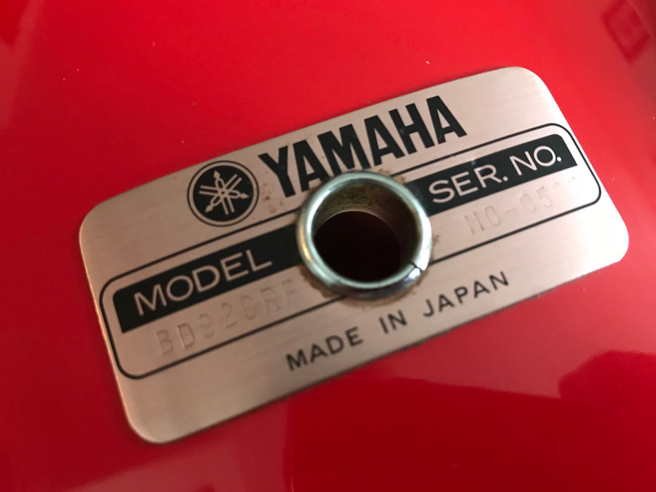 "20""x16"" Yamaha BD920RF Recording Custom Bass Drum MIJ 80's HOT ROD RED"