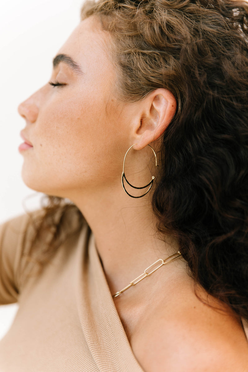 Hammered Double Hoop Earrings - Luca + Grae