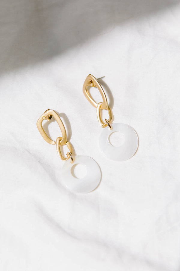 Seaside White Earrings - Luca + Grae