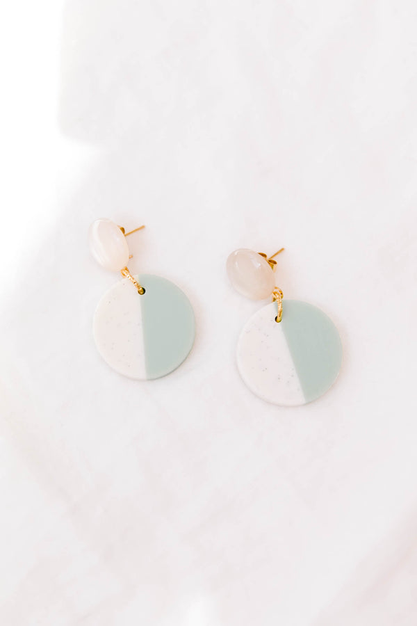 Two Tone Mint Earrings - Luca + Grae